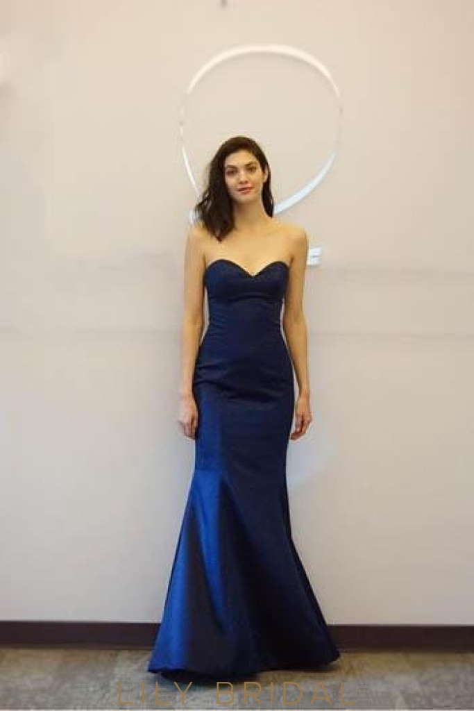 Strapless Long Satin Formal Evening Dress With Sweetheart Neckline