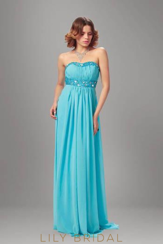 Strapless Rhinestone Beaded A-Line Floor-Length Chiffon Bridesmaid Dress