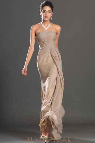 Strapless Ruched Chiffon Formal Evening Dress With Scattered Beads