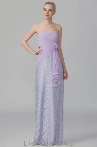 Strapless Ruched Lavender Lace Chiffon Bridesmaid Dress With Corsage