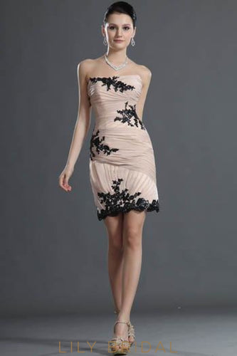 Strapless Scalloped Sequin Hemline Ruched Chiffon Cocktail Dress With Black Sequin Applique