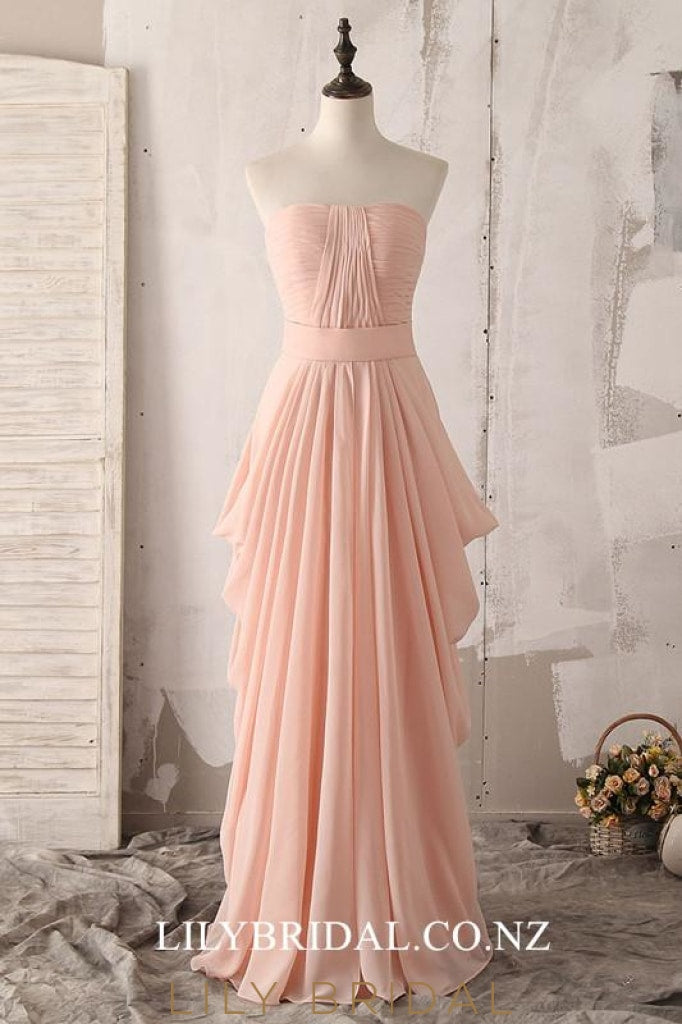 Strapless Sleeveless Zipper-Up Floor-Length Solid Ruched Chiffon Bridesmaid Dress
