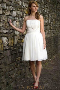 Strapless Sleeveless Zipper-Up Knee-Length Solid Ruched Chiffon Wedding Dress