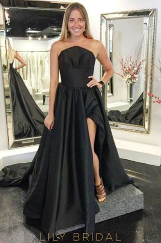 Strapless Sleeveless Zipper-Up Long Solid Slit Black Evening Dress with Court Train