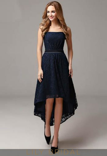 Strapless Straight Across Neckline Dark Navy Lace Mother of the Bride Dress With Belt