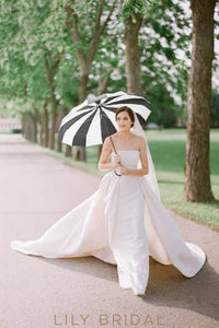 Strapless Straight Across Neckline Taffeta Cathedral Bridal Dress With Overskirt
