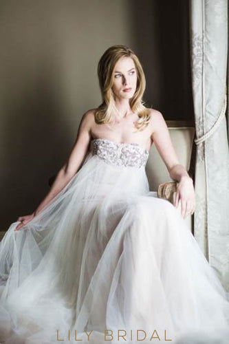 Strapless Straight Across Neckline Tulle Wedding Dress With Diamante