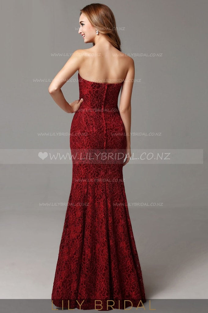 Strapless Sweetheart Burgundy Lace Mermaid Mother of the Bride Dress