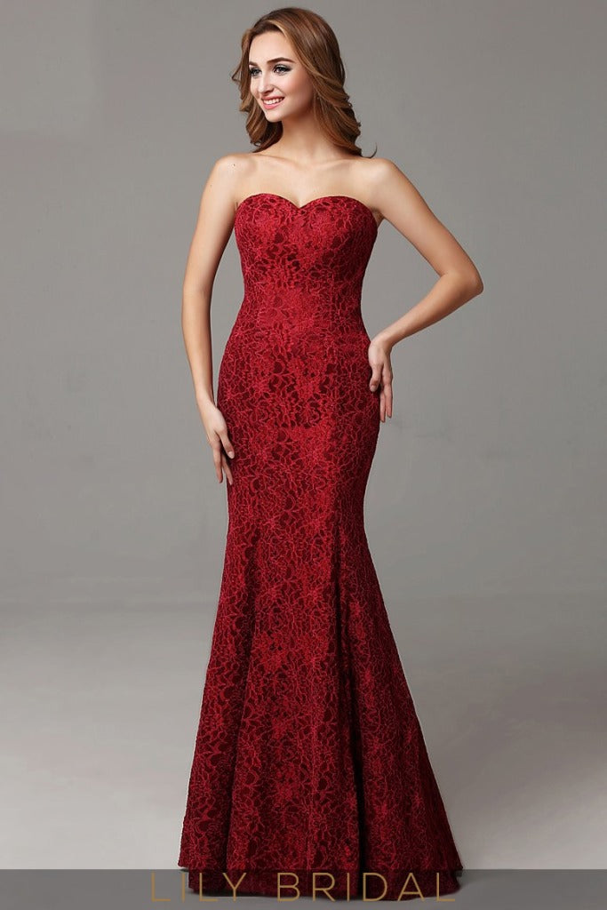 Strapless Sweetheart Dropped Waist Floor-Length Lace Mermaid Prom Dress