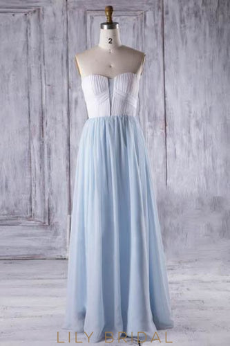 Strapless Sweetheart Floor-Length Chiffon Bridesmaid Dress With Ruched Bodice