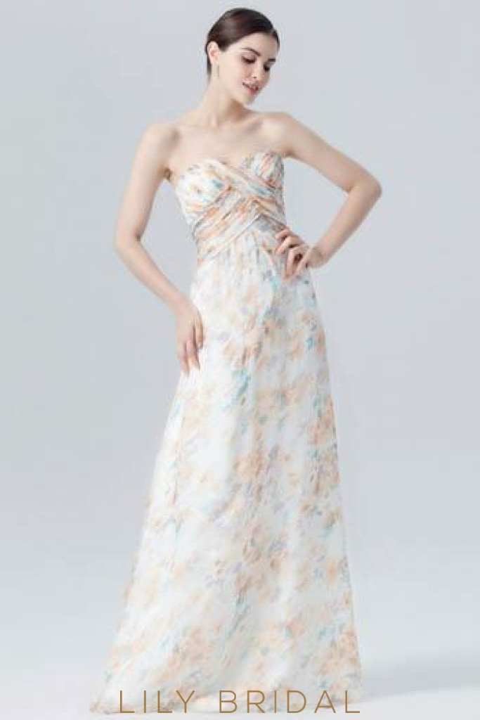 Strapless Sweetheart Floor-Length White Floral Print Evening Dress