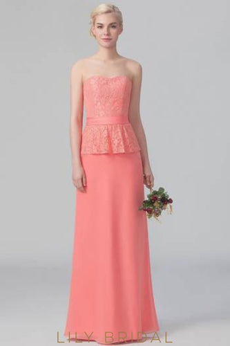 Strapless Sweetheart Lace Chiffon Floor-Length Bridesmaid Dress With Ribbon