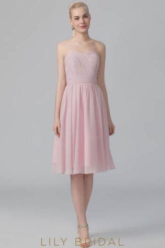 Strapless Sweetheart Pleated Chiffon Short Bridesmaid Dress With Ruched Top