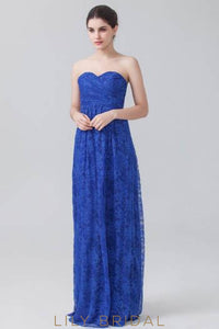Strapless Sweetheart Royal Blue Floor-Length Floral Lace Formal Evening DressStrapless Sweetheart Royal Blue Floor-Length Floral Lace Bridesmaid Dress