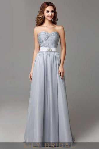 Strapless Sweetheart Ruched Chiffon Floor-Length Evening Dress With Belt