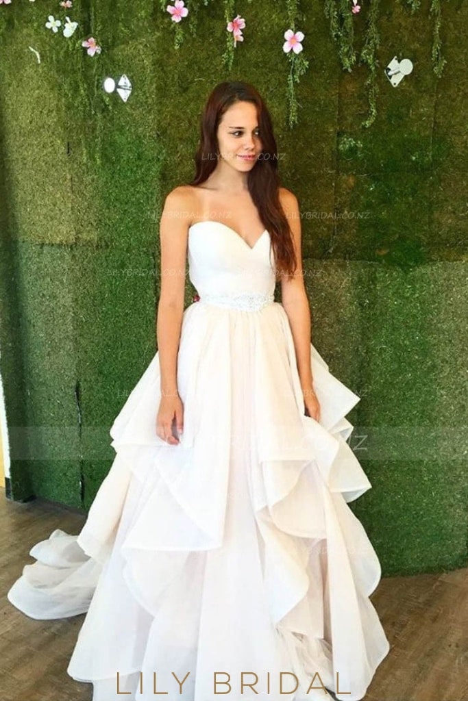 Strapless Sweetheart Tiered Ruffle Chiffon Bridal Dress With Crystal Beaded Belt