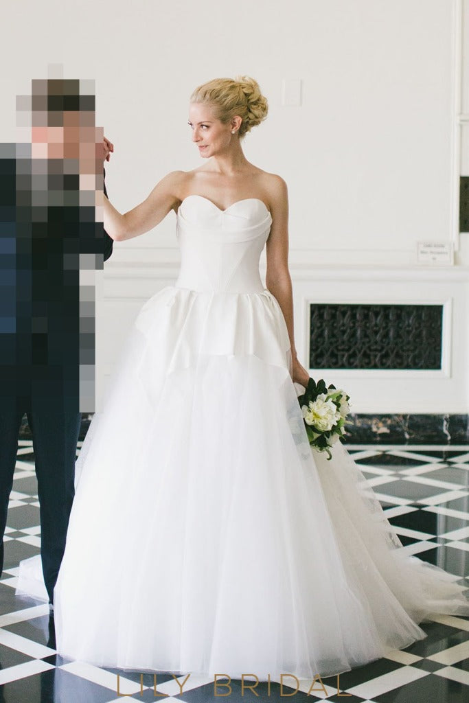 illusion back ivory wedding dress