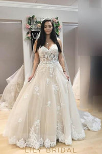 Strapless Sweetheart Tulle Court Train Bridal Dress With Lace