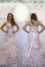 Strapless Tiered Ruffles Floor-Length Organza Prom Dress With Ribbon