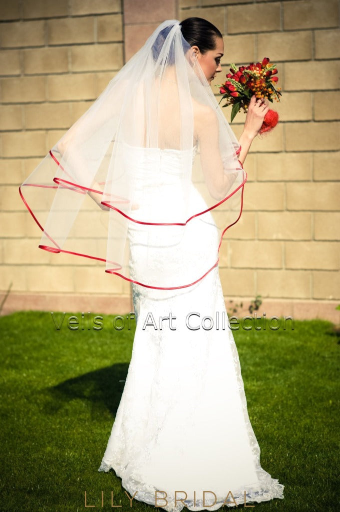 bibbon edge bridal veil