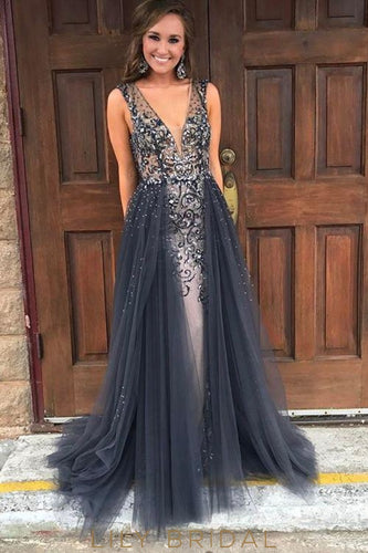 Plunging V-Neckline Open Back Sleeveless Beaded A-Line Tulle Prom Dress