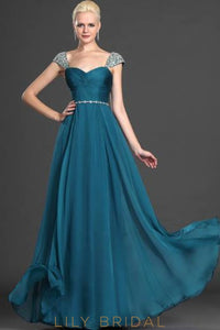 Sweetheart A-Line Floor-Length Ruched Chiffon Evening Dress With Crystal Beaded Waistband