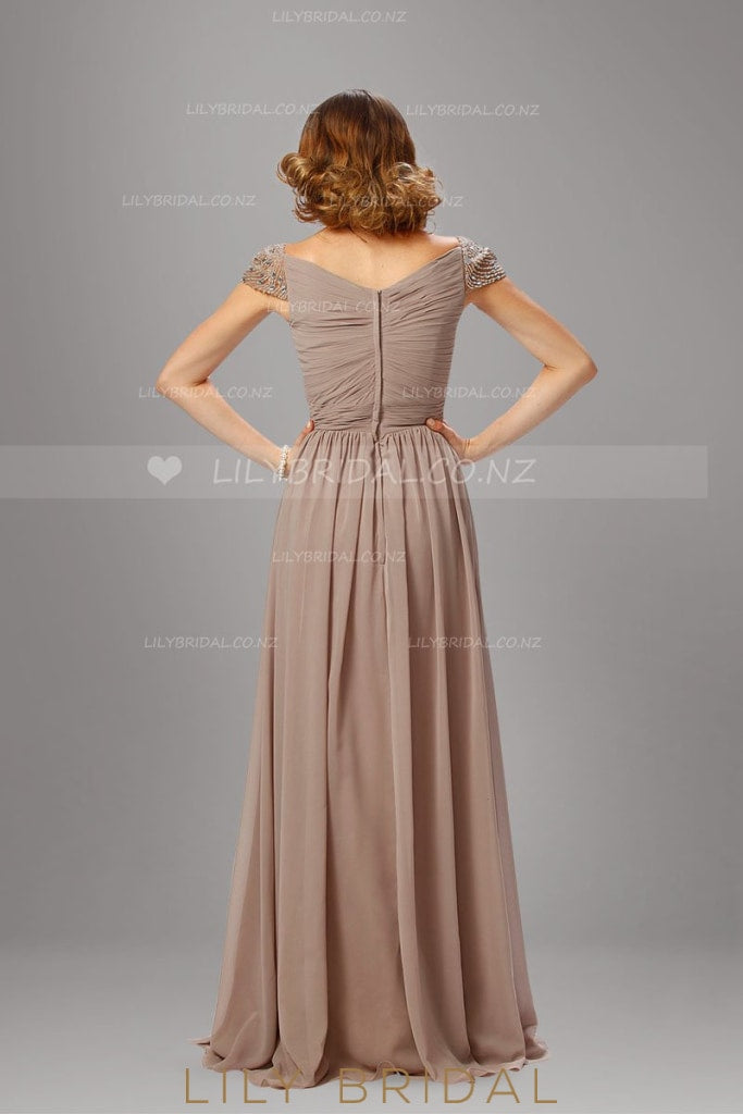 Sweetheart A-Line Floor-Length Split Chiffon Evening Dress With Beaded Cap Sleeve