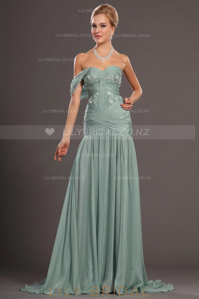 Sweetheart Beaded Chiffon Mermaid Evening Dress With 3D Flowers