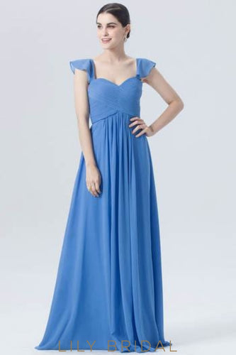 Sweetheart Cap Sleeve Empire Waist Long Formal Evening Dress With Ruched Bodice