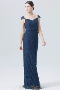 Sweetheart Cap Sleeve Floor-Length Lace Formal Evening Dress