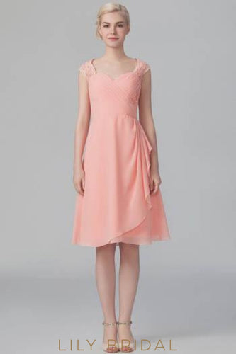 Sweetheart Cap Sleeve Lace Chiffon Overlap Short Bridesmaid Dress With Keyhole Back