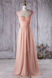 Sweetheart Cap Sleeve Ruched Chiffon Lace Bridesmaid Dress