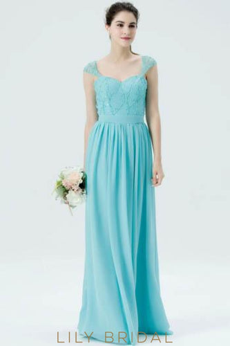 Sweetheart Cap Sleeve Sequinned Floor-Length Chiffon Bridesmaid Dress