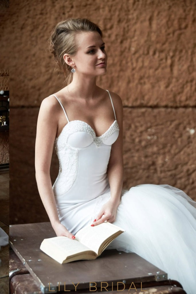 Ivory Sweetheart Dropped Waist  Wedding Dress with Spaghetti Straps