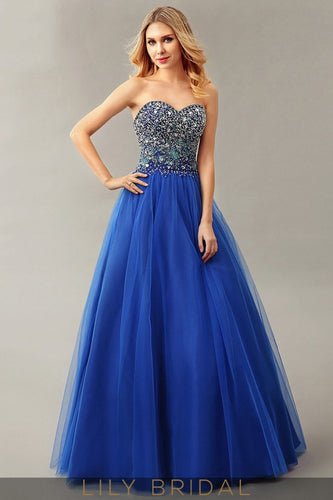 Sweetheart Floor-Length Royal Blue Ball Gown Tulle Prom Dress