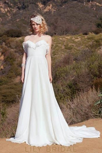 Sweetheart Halter Sweep Train Rustic Chiffon Bridal Dress
