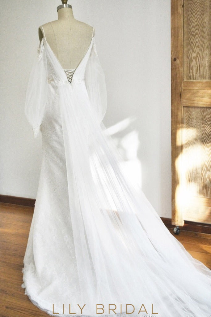 puffy sheer tulle train Wedding Dress
