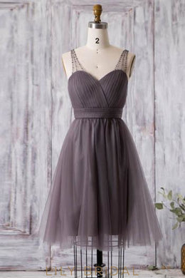 Sweetheart Ruched Tulle Short Bridesmaid Dress With Beads