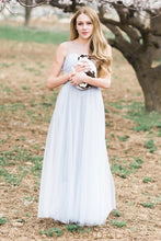Sheer Neck Sleeveless Floor-Length Tulle Bridesmaid Dress With Ruched Bodice
