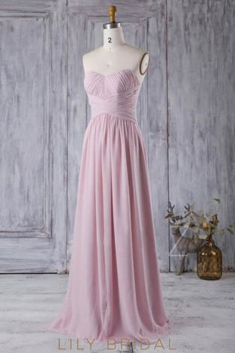 Sweetheart Sleeveless Zipper-Up Long Solid Ruched Chiffon Bridesmaid Dress