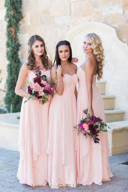 Sweetheart Sleeveless Zipper-Up Long Solid Ruched Sheath Chiffon Bridesmaid Dress