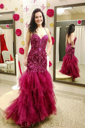 Sweetheart Backless Spaghetti Strap Dropped Waist Burgundy Sequinned Tulle Mermaid Prom Dress