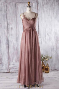 Sweetheart Strap Chiffon Floor-Length Bridesmaid Dress With Hand-Made Flowers