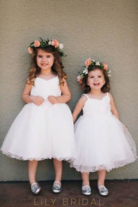 Sweetheart Strap Knee-Length Ball Gown Tulle Flower Girl Dress With Curly Hemline