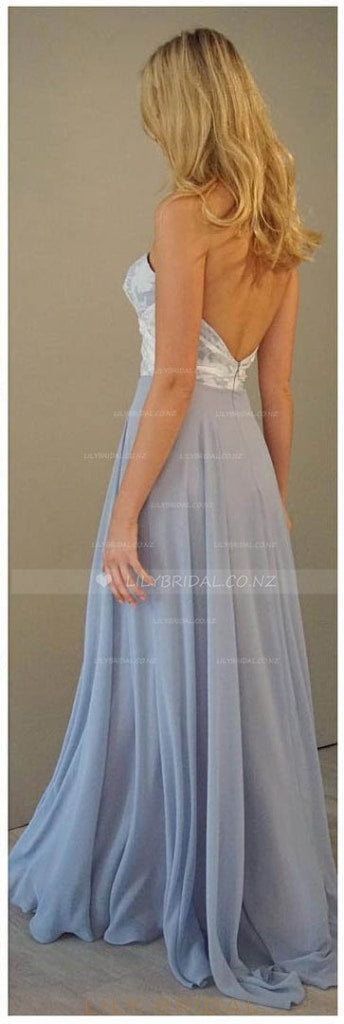Sweetheart Strapless Backless Floor-Length Chiffon Evening Dress With Floral Bodice