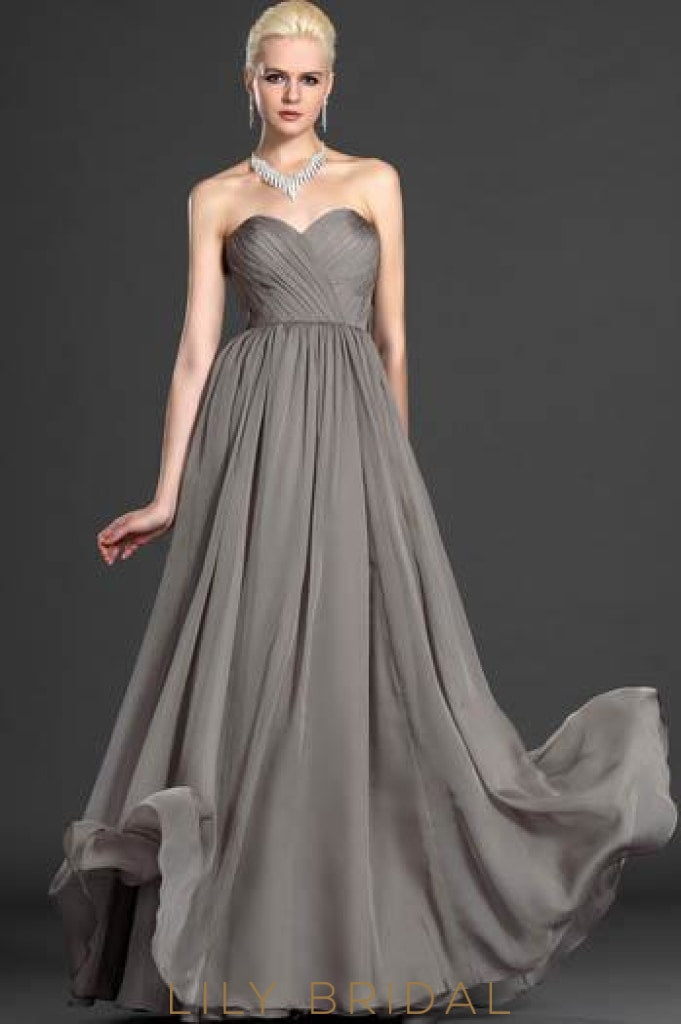 Sweetheart Strapless Floor-Length Chiffon Formal Evening Dress With Ruched Bodice