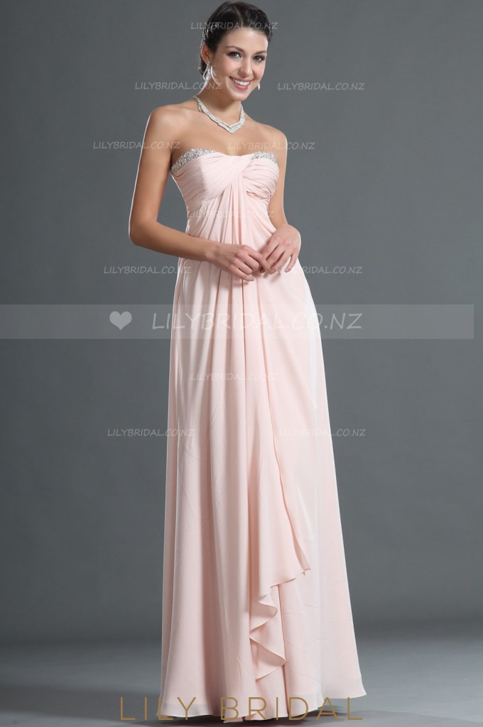 Sweetheart Strapless Floor-Length Chiffon Overlap Evening Dress With BeadsSweetheart Strapless Floor-Length Chiffon Overlap Bridesmaid Dress With Beads