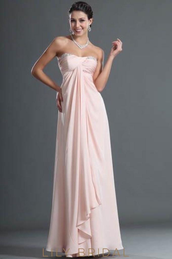 Sweetheart Strapless Floor-Length Chiffon Overlap Bridesmaid Dress With Beads