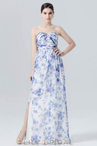 Sweetheart Strapless Floor-Length Floral Print Evening Dress With Slit