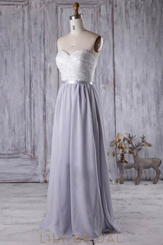Sweetheart Strapless Floor-Length Lace Chiffon Bridesmaid Dress With Sash